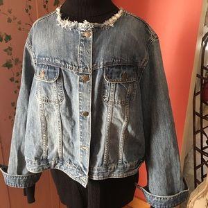 Women's 3X Chaps Faded Denim Jacket Fringed Neck
